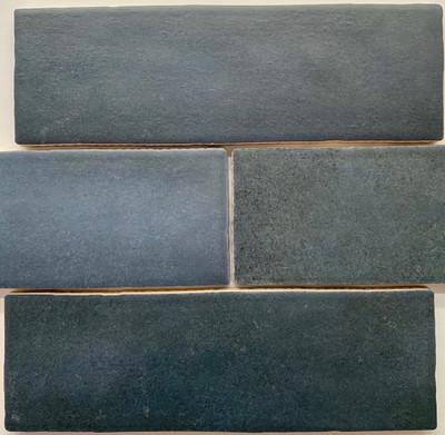 Sample of Madrid Atlantic Blue  Subway Wall Tile 200x65mm