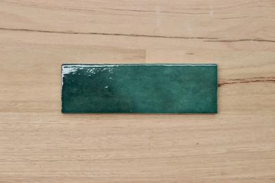 Onda Forest Green  Gloss Subway Tile 200x65mm
