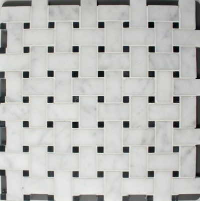 Basketweave Carrara/Nero Marquina Honed Mosaic