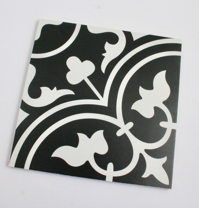 Sample of Fleur Black Keys Wall and Floor Tile 200mm