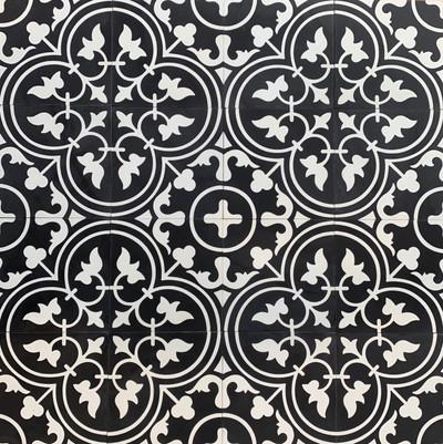 Tulip - White on Black Encaustic Cement Tile - 16 tiles