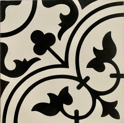 Tulip Encaustic Tile black on white - 1 tile