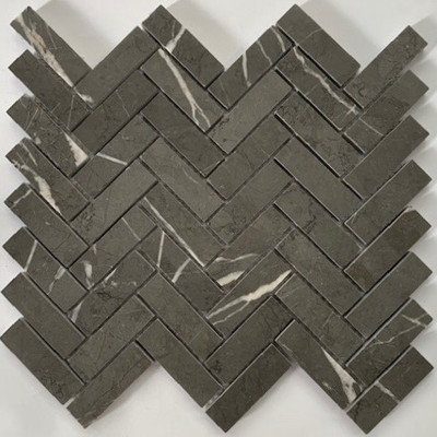Grey Marble Herringbone Mosaic 64x20mm