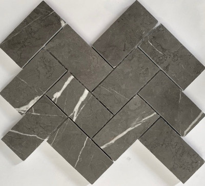 Grey Marble Herringbone Mosaic 100x50mm