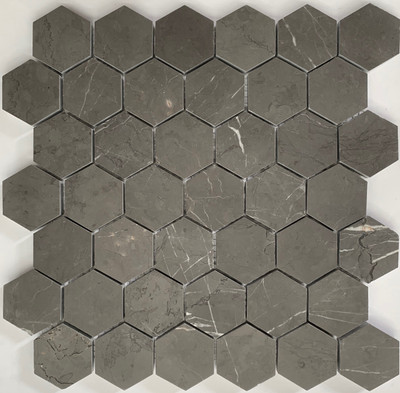 Pietre Grey Marble Hexagonal Mosaic 48mm