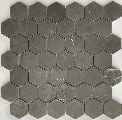 Pietra Grey Marble Hexagon Mosaic 48mm