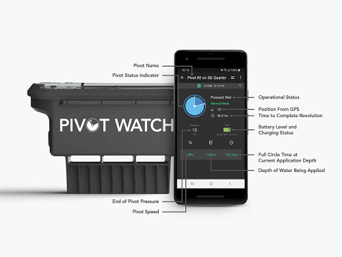 FieldNET Pivot Watch is a remote monitoring solution that allows growers and their agronomic advisors to keep track of any pivot, anytime, anywhere. This breakthrough technology works with any center pivot no matter the brand or age, offering real-time reporting on the flow of water, current position, status, direction and speed. Easy on the wallet with simple DIY installation, FieldNET Pivot Watch is perfect for every field. The FieldNET app provides access to FieldNET  Advisor™, the award-winning irrigation scheduling solution that's helping growers maximize their profitability through better irrigation management.