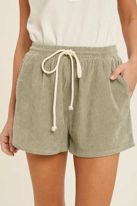Casual Corduroy Cinched Waist Shorts