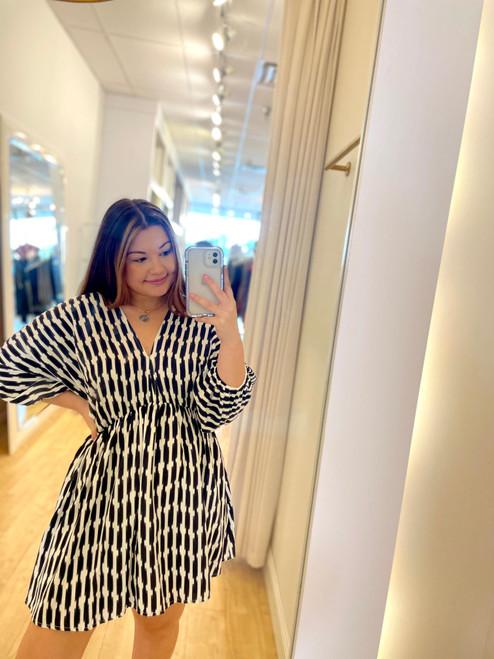 Stripe Printed Kimono Dress