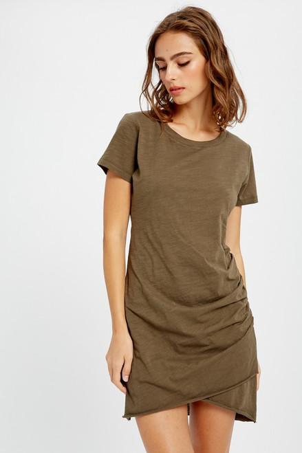 Short Sleeve Ruched T-Shirt Dress