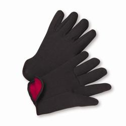 Large 100% Cotton Brown Jersey Red Fleece Lined Gloves Dozen