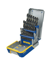 29-pc Black and Gold Metal Index Drill Bit Sets, 1/16 in - 1/2 in Cut Dia.