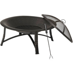 Outdoor Expressions 35 In. Antique Bronze Round Steel Fire Pit FT-21039