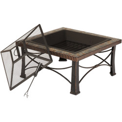 Outdoor Expressions 30 In. Slate Square Steel Fire Pit FTB-013SB