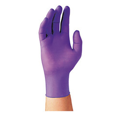 Purple Nitrile Exam Gloves, Beaded Cuff, Unlined, Large