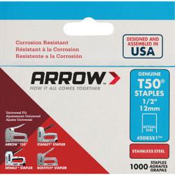 Arrow T50 Heavy-Duty Stainless Steel Staple, 1/2 In. (1000-Pack) 508SS1