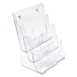 3-Compartment DocuHolder, Magazine Size, 9.5w x 6.25d x 12.63, Clear 77301