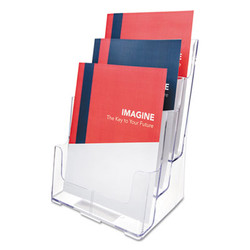 3-Compartment DocuHolder, Magazine Size, 9.5w x 6.25d x 12.63, Clear 77301