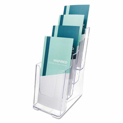 4-Compartment DocuHolder, Leaflet Size, 4.88w x 6.13d x 10h, Clear 77701