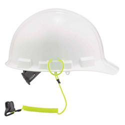 3158  Lime Coil Hard Hat Lanyard with Clamp