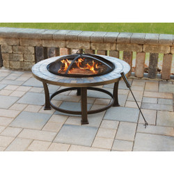 Outdoor Expressions 34 in. Antique Bronze Round Steel Fire Pit FTB-51216
