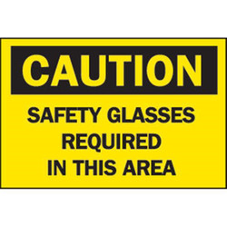"""Brady® """"Caution: Safety Glasses Required In This Area"""" Aluminum Sign"""