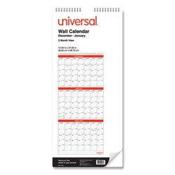 3-Month Wall Calender, White/Black/Red, 12 x 27, 2021 71003