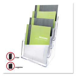 4-Compartment DocuHolder, Magazine Size, 9.38w x 7d x 13.63h, Clear 77441