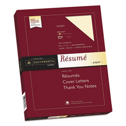 100% Cotton Resume Paper, 24 lb, 8.5 x 11, Ivory, 100/Pack R14ICF