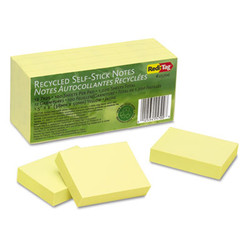 100% Recycled Notes, 1 1/2 x 2, Yellow, 12 100-Sheet Pads/Pack 25700