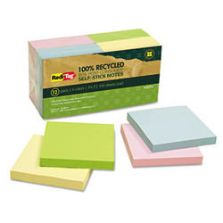 100% Recycled Notes, 3 x 3, Four Colors, 12 100-Sheet Pads/Pack 26704