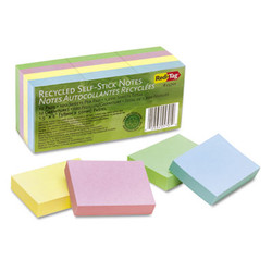 100% Recycled Notes, 1 1/2 x 2, Four Pastel Colors, 12 100-Sheet Pads/Pack 25701