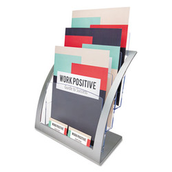 3-Tier Literature Holder, Leaflet Size, 11.25w x 6.94d x 13.31h, Silver 693745