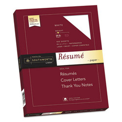 100% Cotton Resume Paper, 95 Bright, 24 lb, 8.5 x 11, White, 100/Pack R14CF