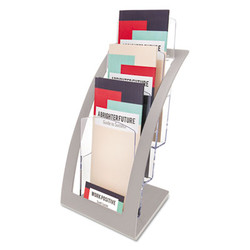 3-Tier Literature Holder, Leaflet Size, 6.75w x 6.94d x 13.31h, Silver 693645