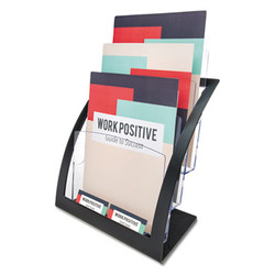 3-Tier Literature Holder, Leaflet Size, 11.25w x 6.94d x 13.31h, Black 693704