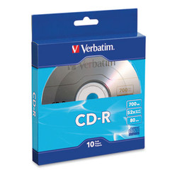 CD-R Recordable Disc, 700MB, 52x, Silver, 10/Pack 97955