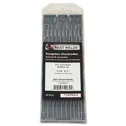 2% Ceria Ground Tungsten Electrodes, 1/16 in Dia, 7 in Long