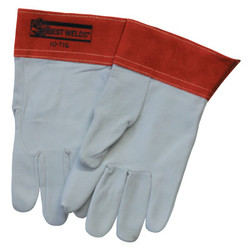 10-TIG Capeskin Welding Gloves, Large, White/Red
