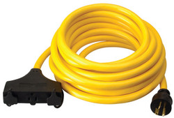 Generator Extension Cord, 25 ft, 3 Outlets, 20 Amp