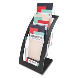 3-Tier Literature Holder, Leaflet Size, 6.75w x 6.94d x 13.31h, Black 693604