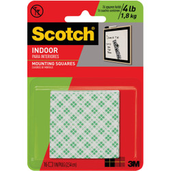 3M Scotch 1 In. x 1 In. Permanent Mounting Squares (16-Pack) 111DC