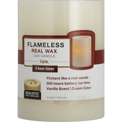 Inglow 4 In. H. x 3 In. Dia. Cream Wax Pillar Flameless Candle EXHBWT54400CR01