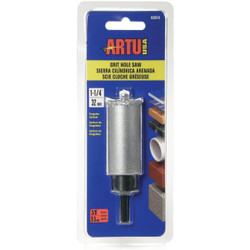 ARTU 1-1/4 In. Tungsten Carbide Grit Hole Saw with Arbor and Pilot Bit 02810