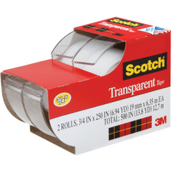 3M Scotch 3/4 In. x 250 In. Transparent Tape (2-Pack) 2157SS