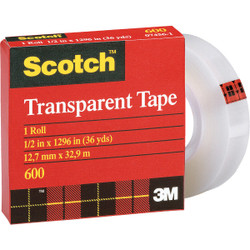 3M Scotch 1/2 In. x 36 Yd. Transparent Tape Refill 600-36