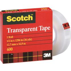 3M Scotch 1/2 In. x 36 Yd. Transparent Tape Refill 600-36