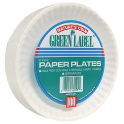 AJM Nature's Own Green Label 6 In. Paper Plates (100 Count) PP6GRAWH