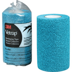 3M Vetrap 4 In. x 5 Yd. Blue Bandaging Wrap 1410B