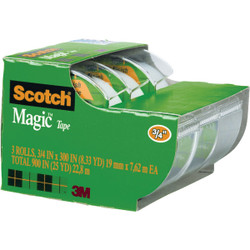 3M Scotch 3/4 In. x 300 In. Magic Transparent Tape (3-Pack) 3105
